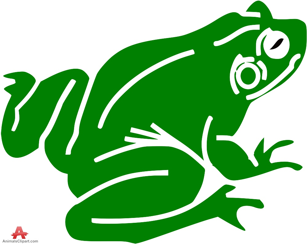 Green Frog Stencil Clipart.