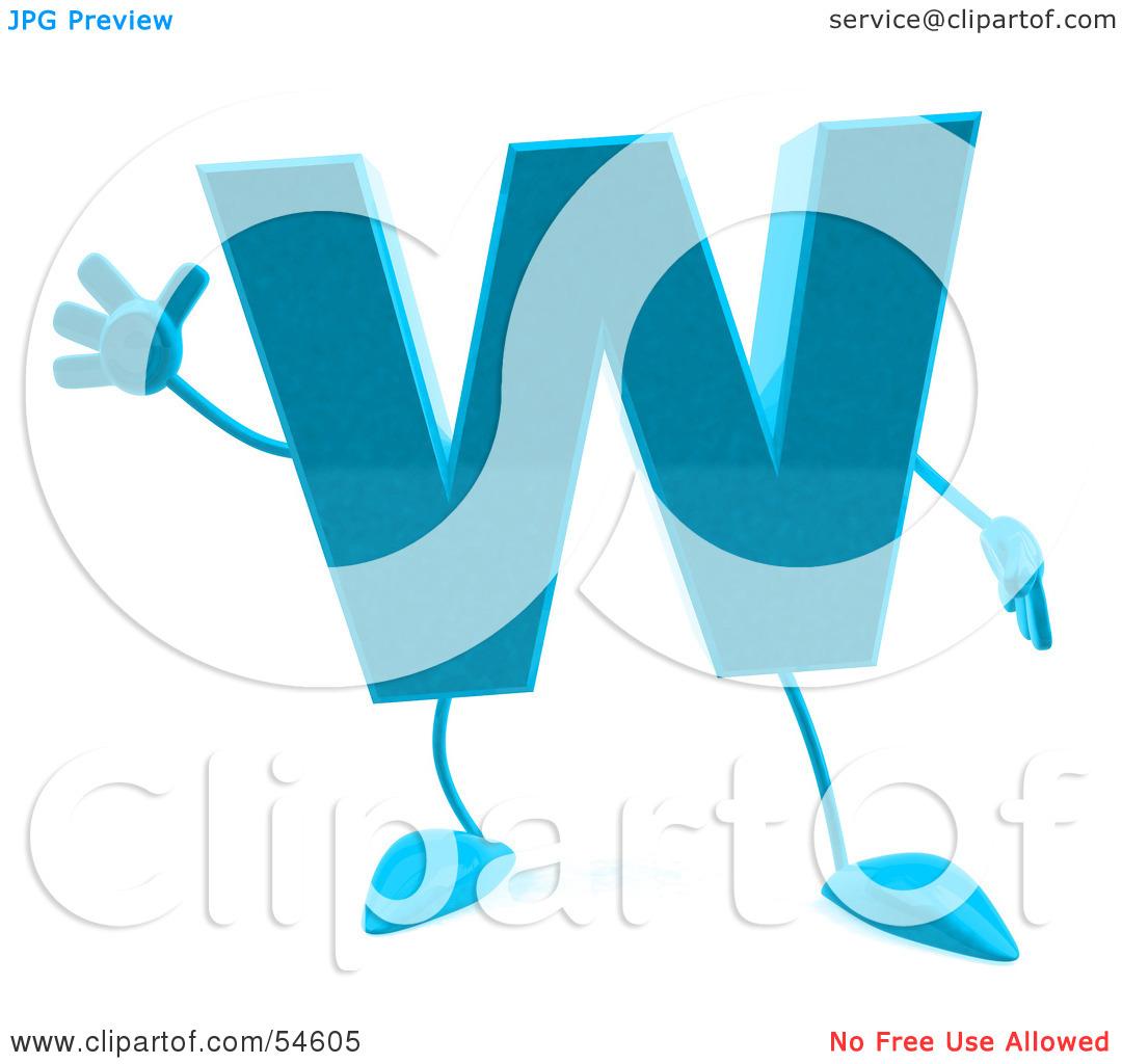 Letter W Blue Clipart.