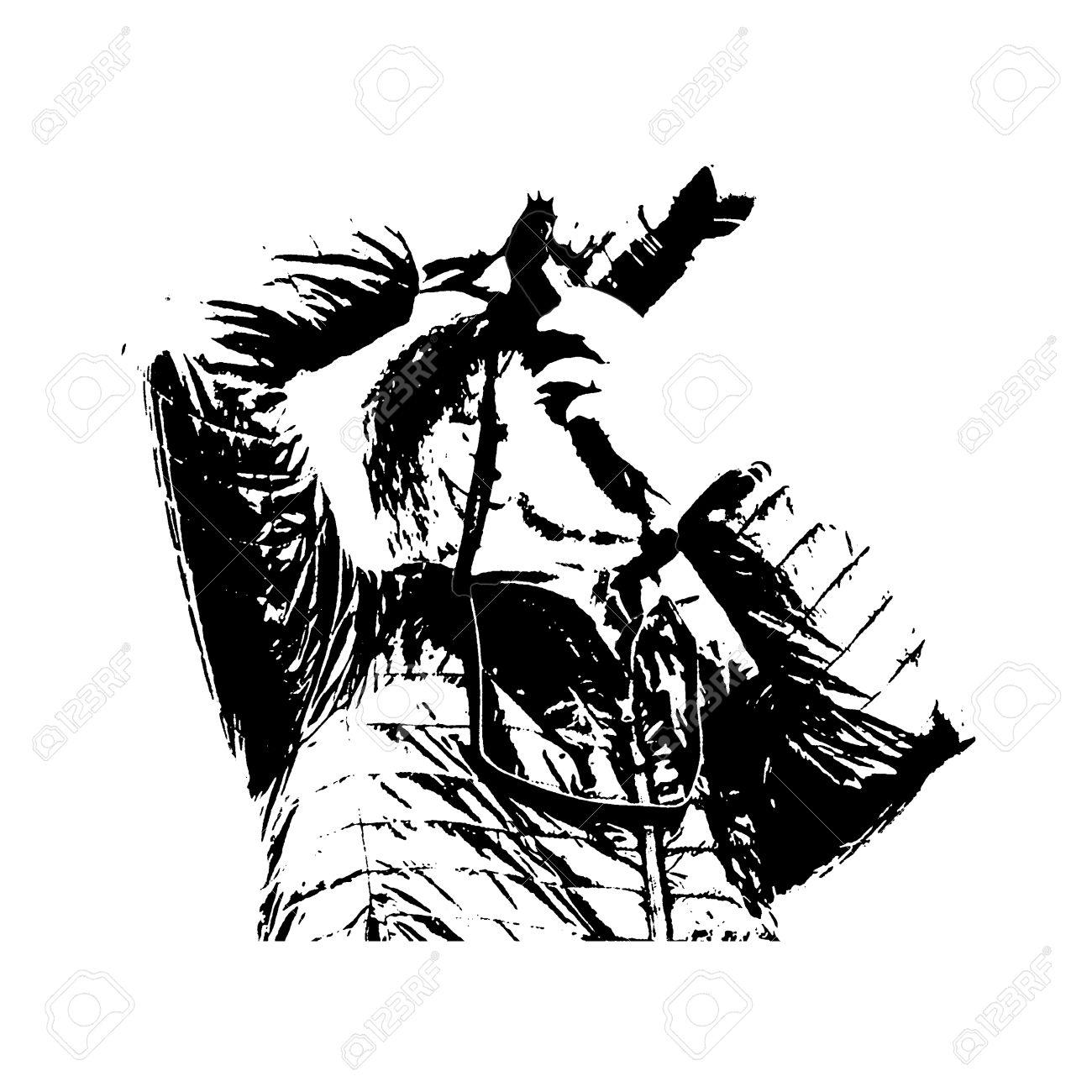 Stencil Art Technique Graphic Illustration Side View Adult Mand.