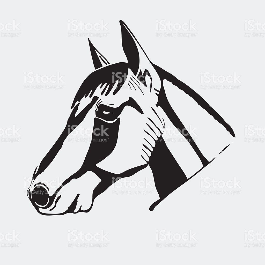Logo Symbol Sign Stencil Horse Headunique Technique Vintage Hand.
