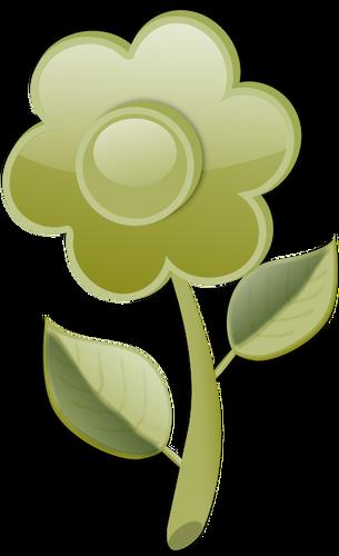 Glänzend grüne Blume am stengel vektor.