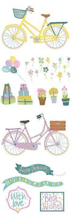 Free Romantic Bicycle Clip Art.
