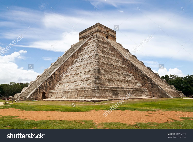 Temple Kukulkan Mesoamerican Steppyramid That Dominates Stock.