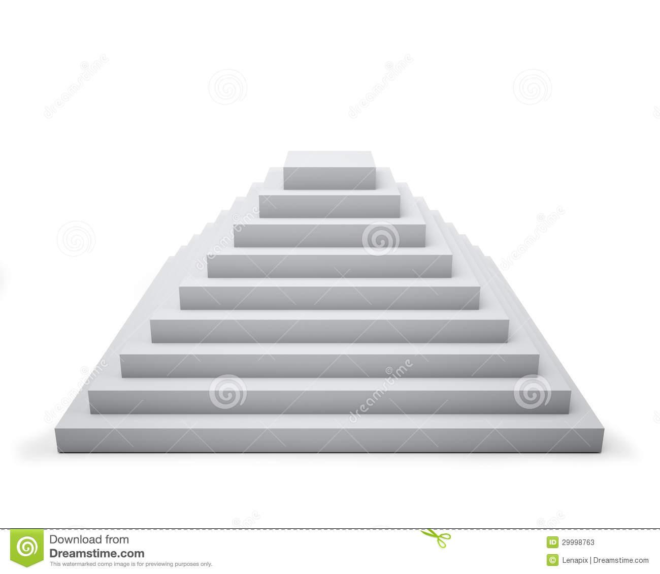 3D White Step Pyramid Stock Photos.