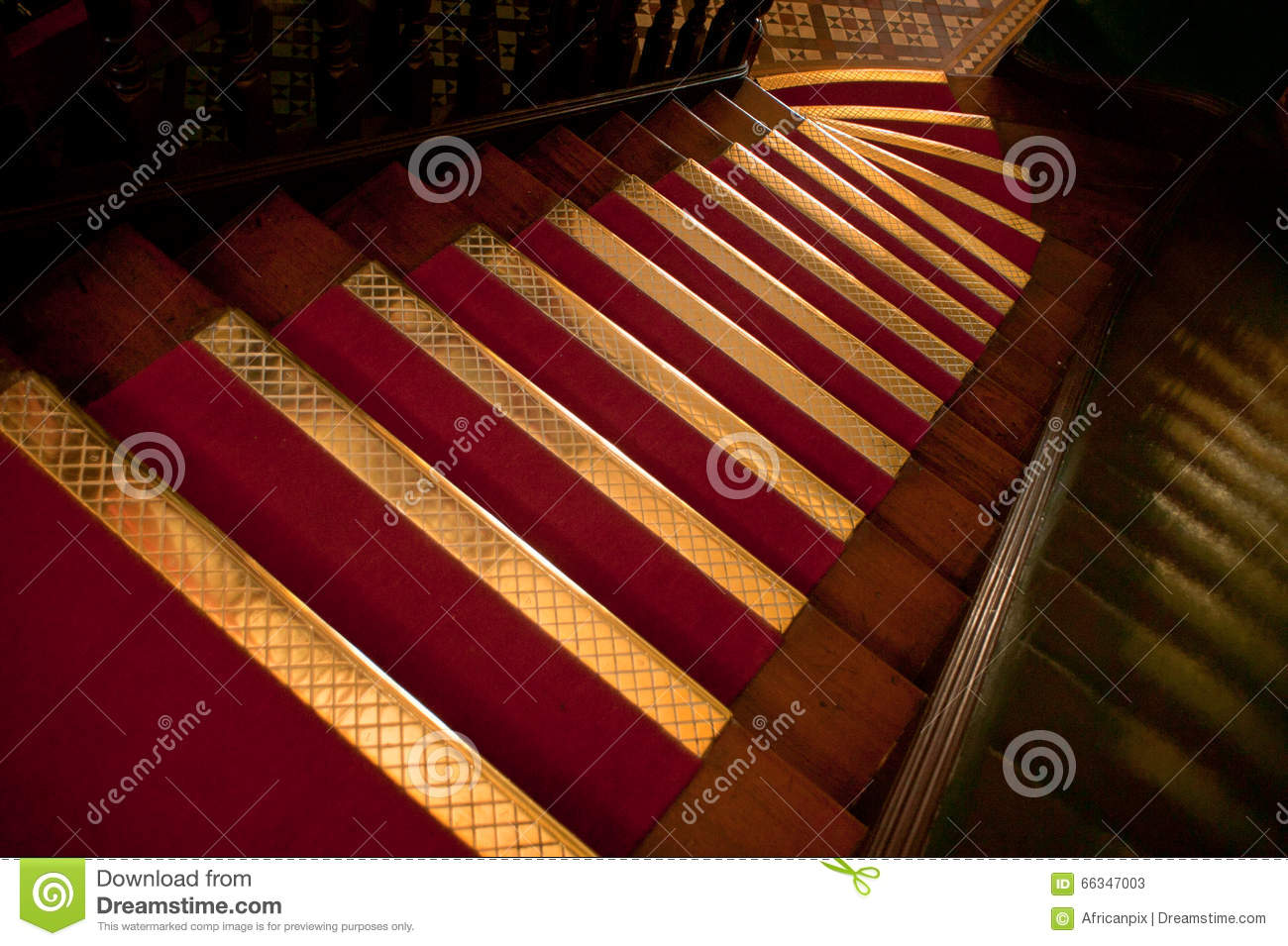 Brass Stair Treads Stock Photo.