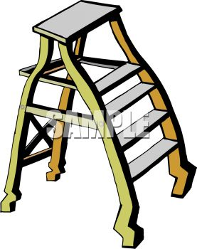 Picture of a Short Step Ladder In a Vector Clip Art Illustration.
