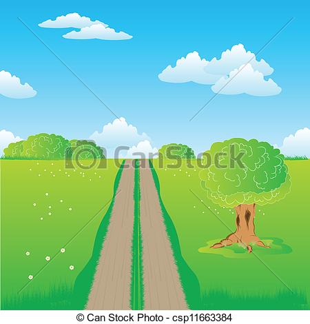 Vector of Rural road in steppe.