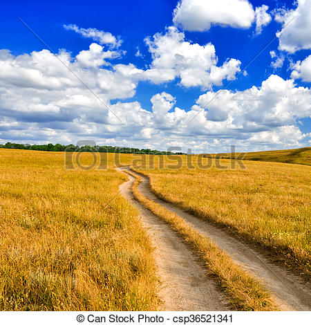Drawing of Dirt road in the steppe.