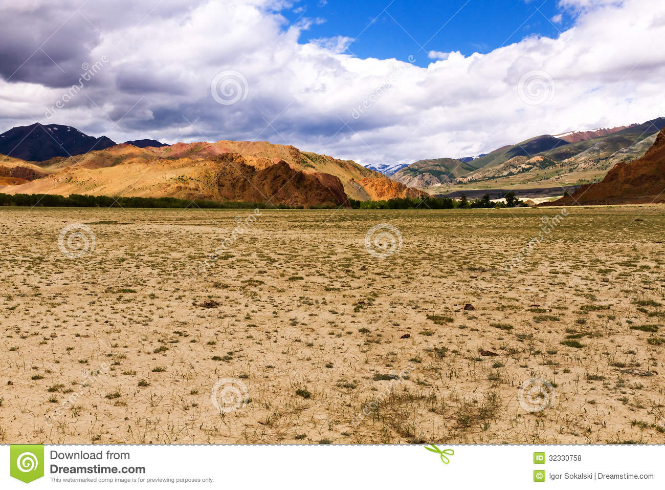 Landscape Steppe Mountains Royalty Free Stock Photos.