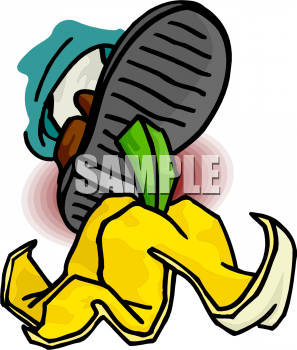 A Foot Stepping On A Banana Peel Clipart Image.