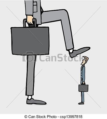 Vector Clip Art of Giant businessman stepping on smaller one.