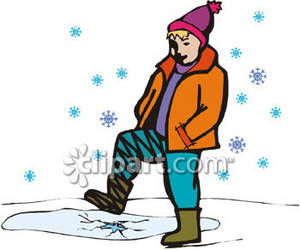 Child Stepping on Ice In the Snow Royalty Free Clipart Picture.