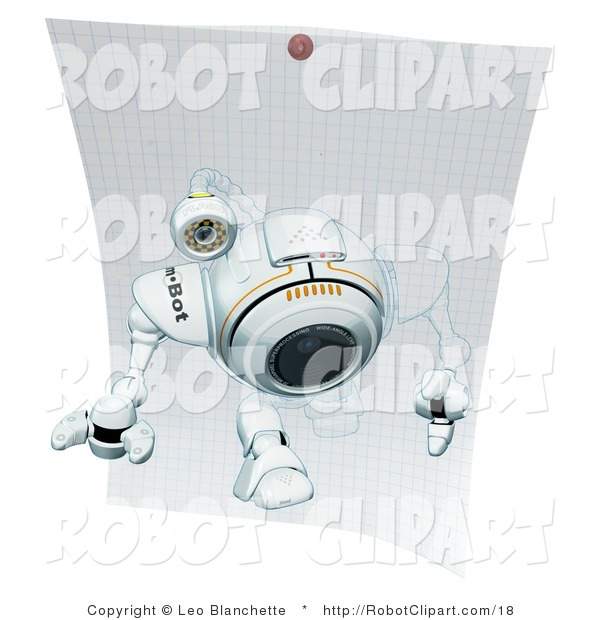 Clipart of a Robotic Webcam Stepping out of a Drawing on Graph.