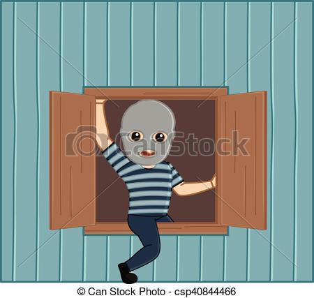 Clip Art Vector of Robber Stepping Out from House Window Vector.