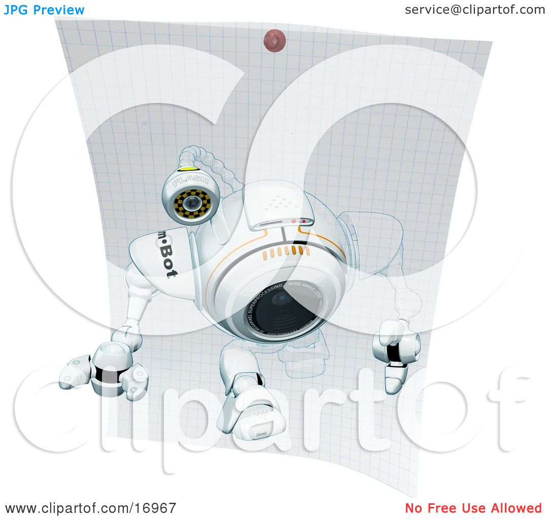 Technology Clipart Illustration Image of a Robotic Webcam Stepping.