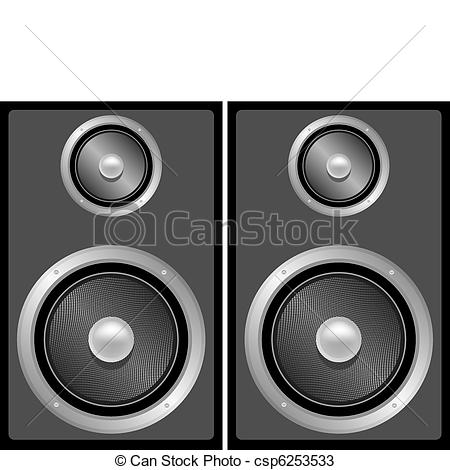 Vectors of Set of Black and Grey Stereo Speakers csp6253533.