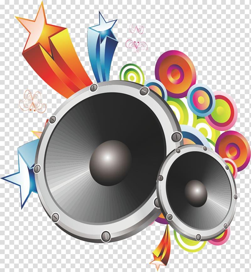 Two black speakers , Loudspeaker , speaker transparent.