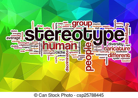 Drawing of Stereotype word cloud with abstract background.
