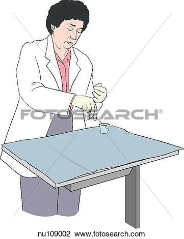 Clip Art of On sterile field, nurse wearing gloves dips applicator.