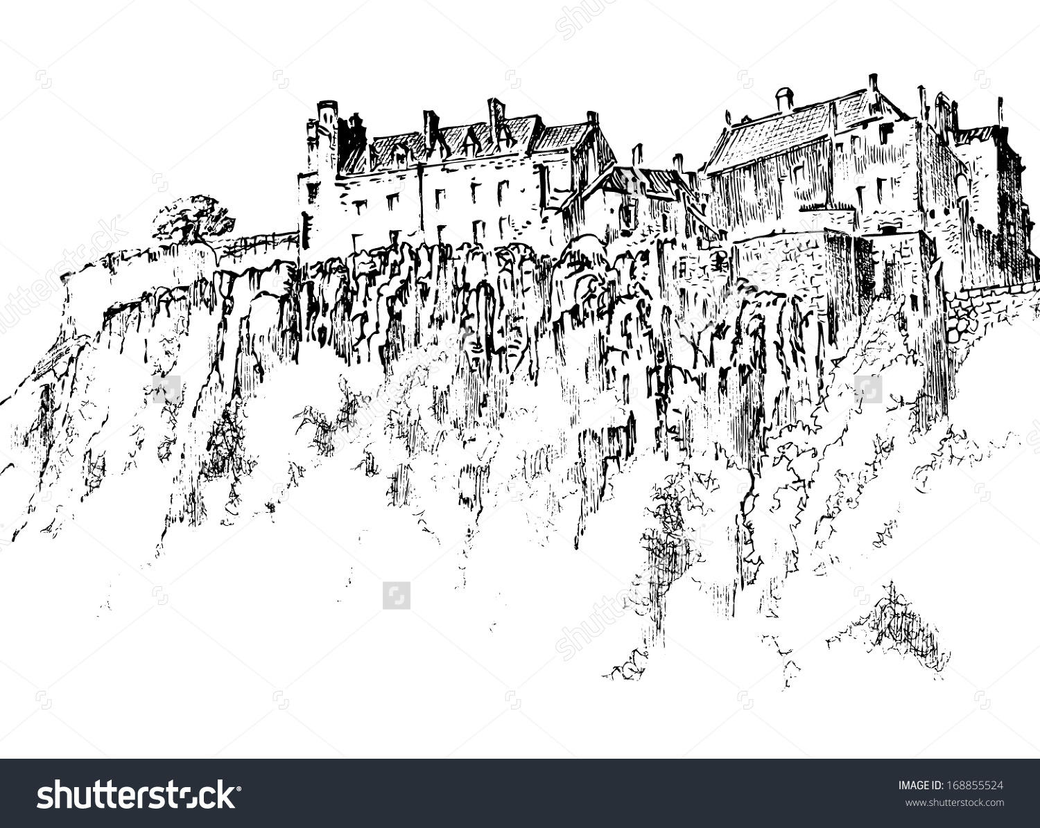 Stirling Castle Scotland Graphic Drawing Stock Vector 168855524.