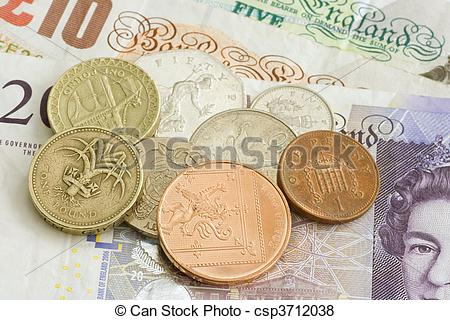 Pictures of Uk sterling money notes and coins csp3712038.