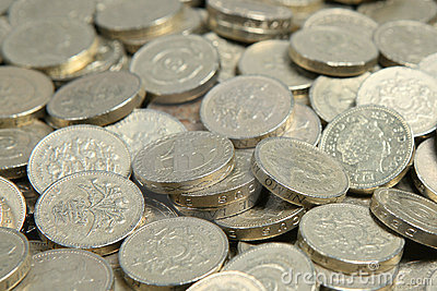 British Pound Coins Sterling Money Royalty Free Stock Image.