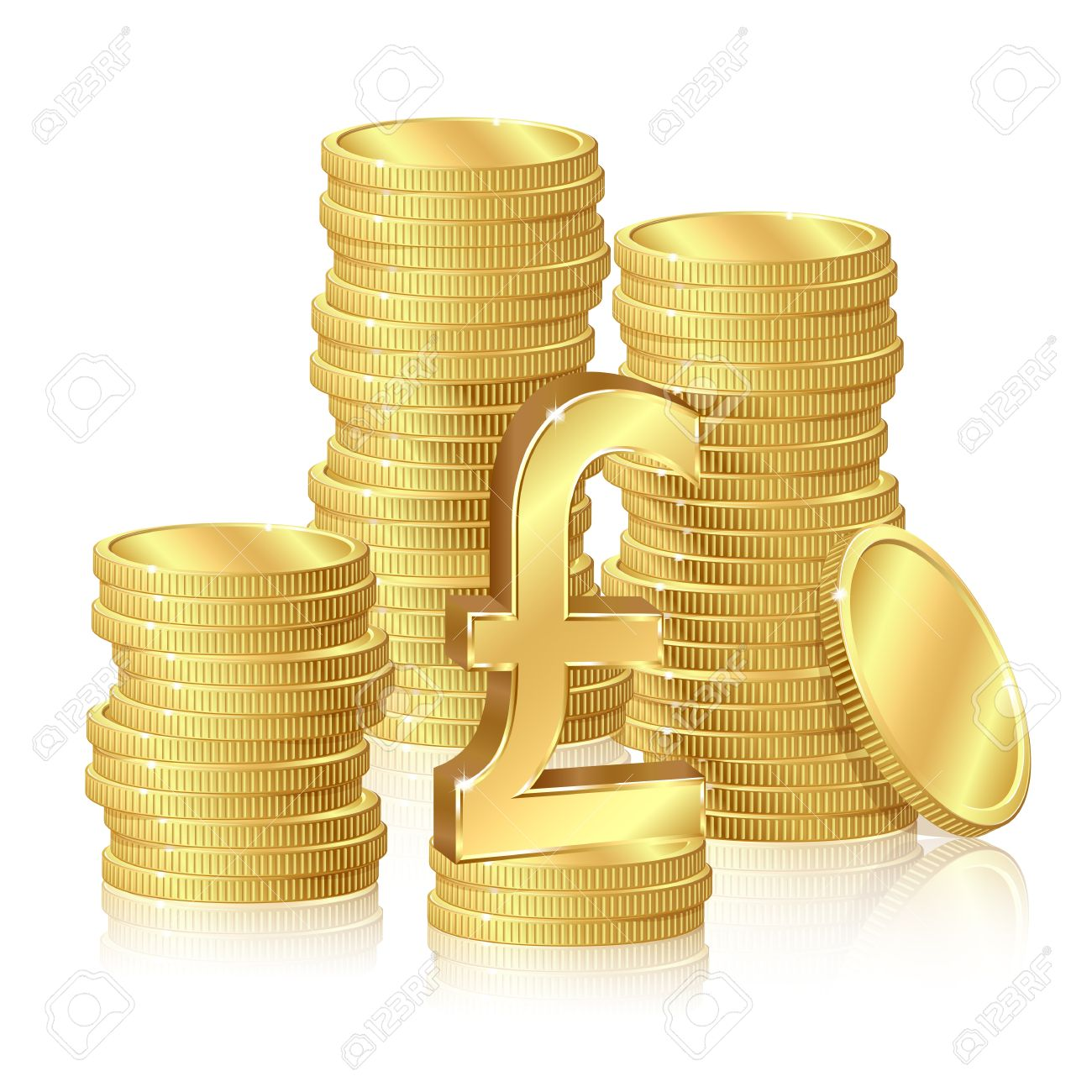 Stacks Of Gold Coins And Pound Sterling Sign Royalty Free Cliparts.