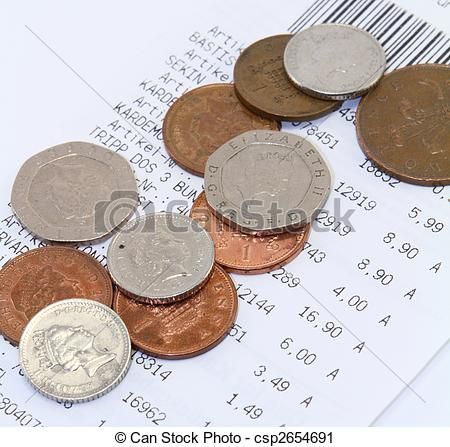 Stock Photography of British Money and Receipt.