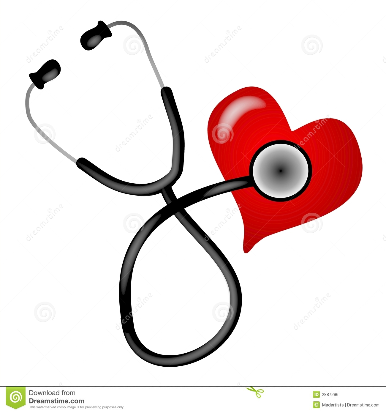 Heart With Stethoscope Clipart.