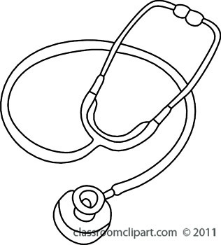 Stethoscope free black and white health outline clipart clip.