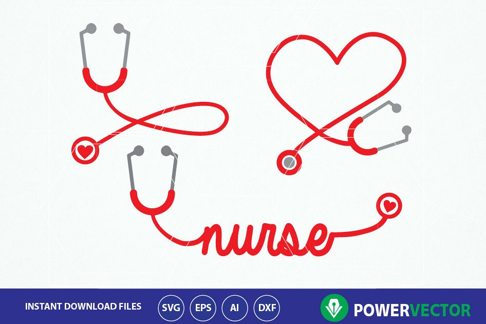 Stethoscope SVG, Nurse Word Art Svg. Nurse Heart Monogram Frame,  Stethoscope Heart Clipart Vector.