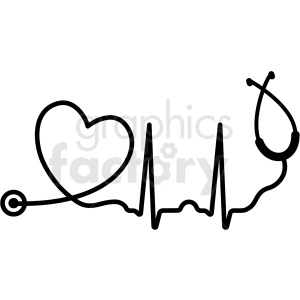 heartbeat stethoscope svg cut file clipart. Royalty.