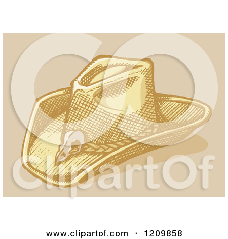 Clipart of a Sketched Stetson Cowboy Hat.