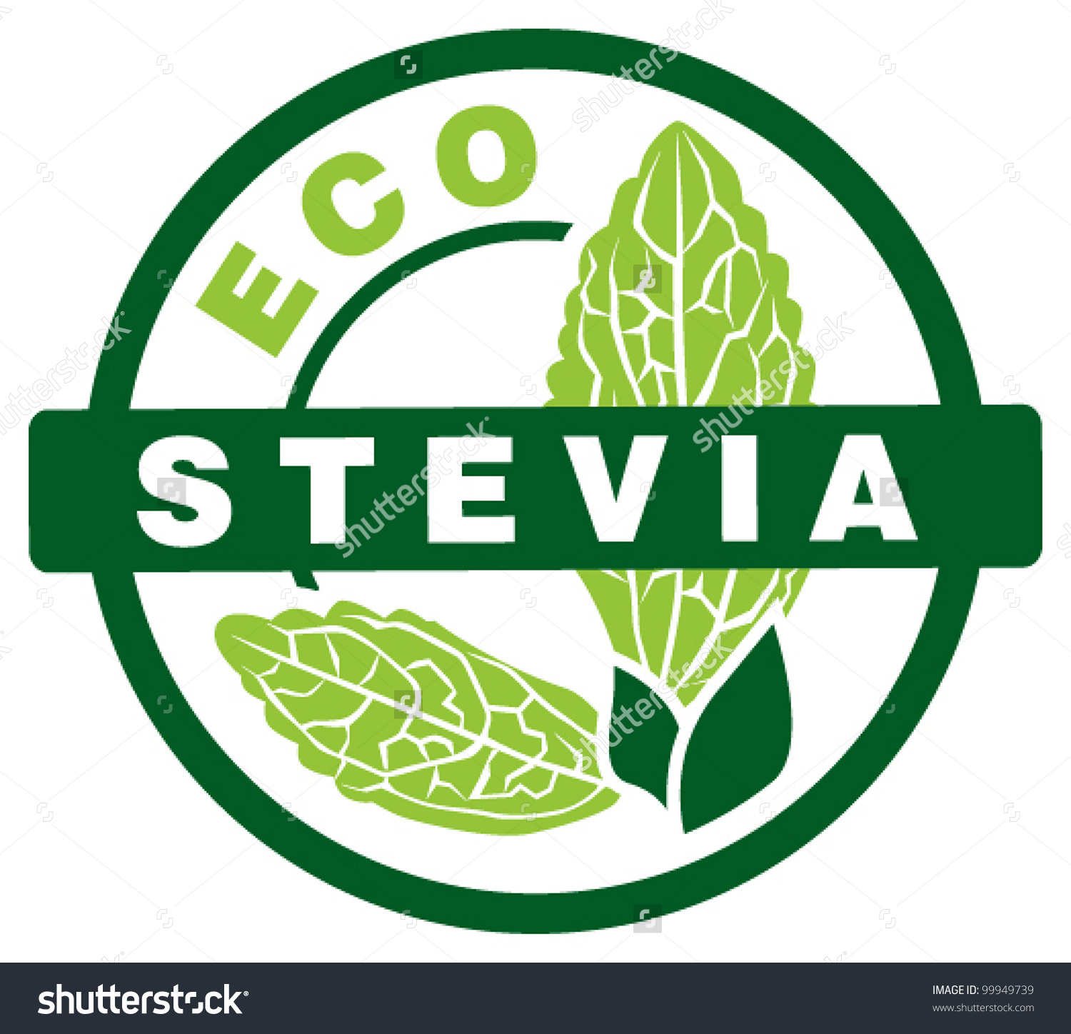 Stevia Sweet Leaf Stamp Stock Vector 99949739.