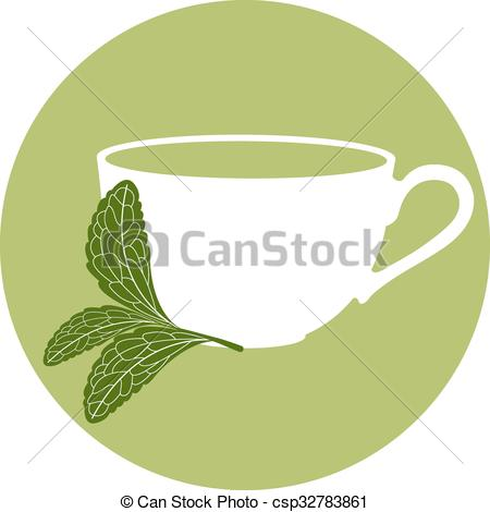 Clip Art Vector of Stevia and a cup of herbal tea.