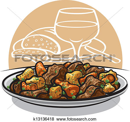 Clipart of beef stew k13838965.