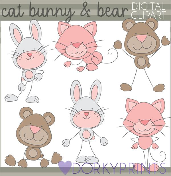Cat Bear and Bunny Stick Animals Clipart.