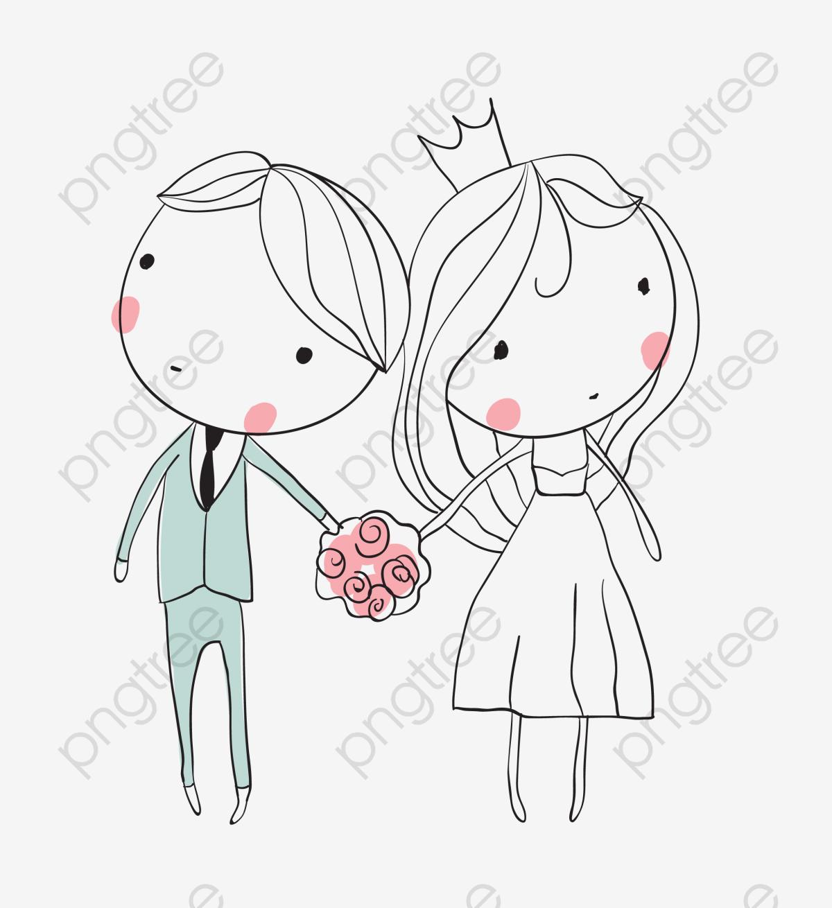 Bride And Groom, Stick Figurewestern Style Wedding, Q.