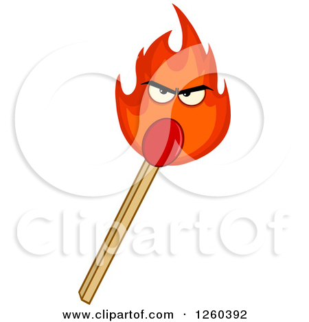 Clipart of a Burning Match Stick Character.