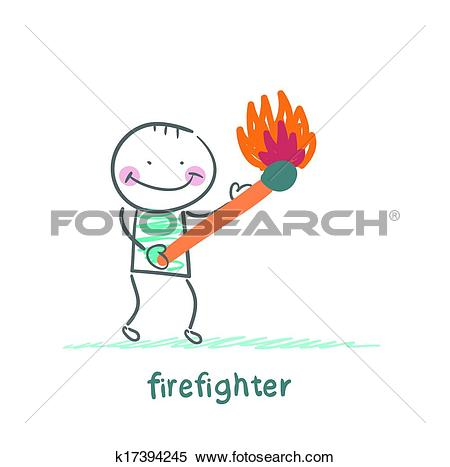 Clipart of firefighter holding a burning stick k17394245.