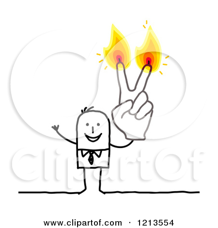 Clipart of a Stick People Business Man Holding up Two Burning.