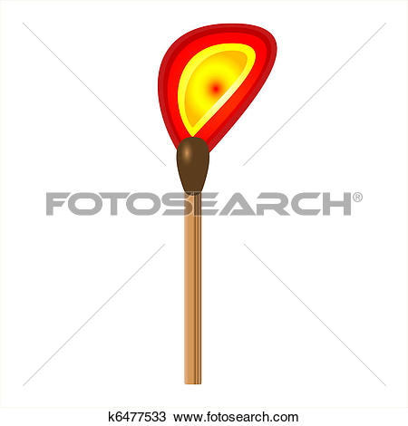 Clipart of Burning match stick on a white background k6477533.