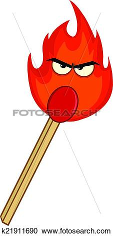 Clipart of Burning Match Stick With Evil Flame k21911690.