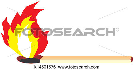 Clip Art of Burning match stick k14501576.