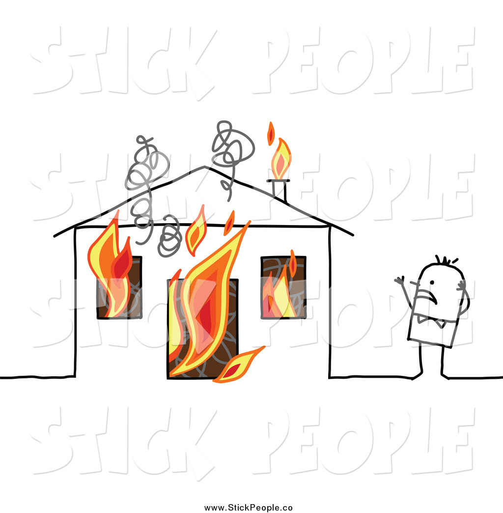 Vector Graphic of a Stick Man and Burning House by NL shop.