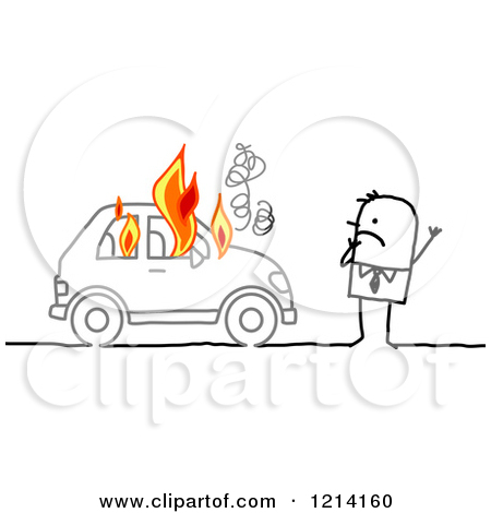 Clipart of a Stick People Business Man by a Burning Car.
