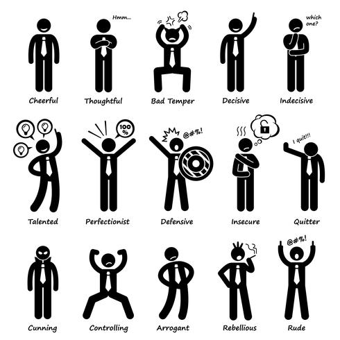 Businessman Attitude Personalities Characters Stick Figure.
