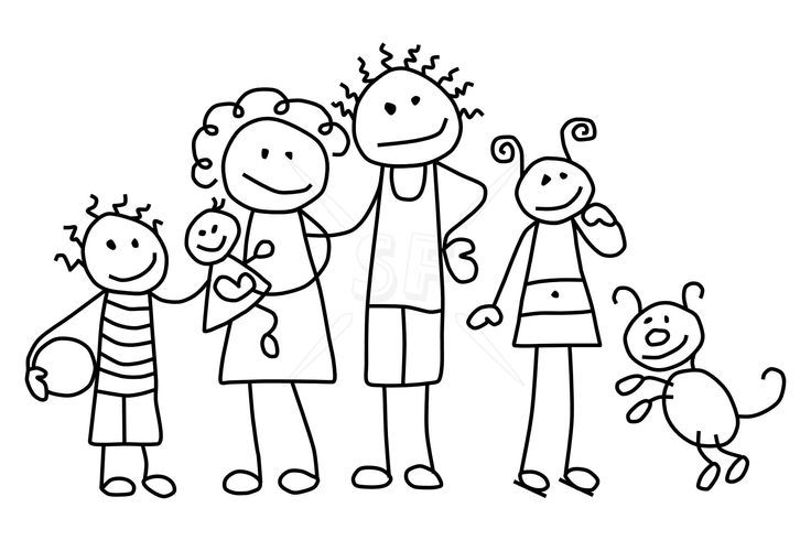 65 Awesome stick figure families clipart.