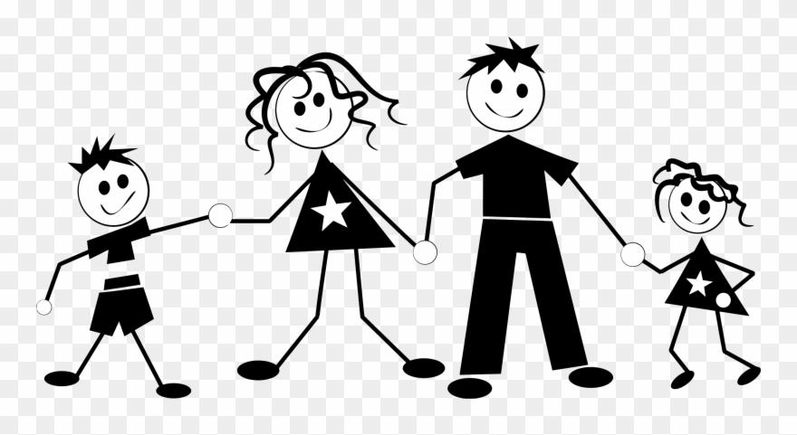 Three Stick Figure Kids Clipart.
