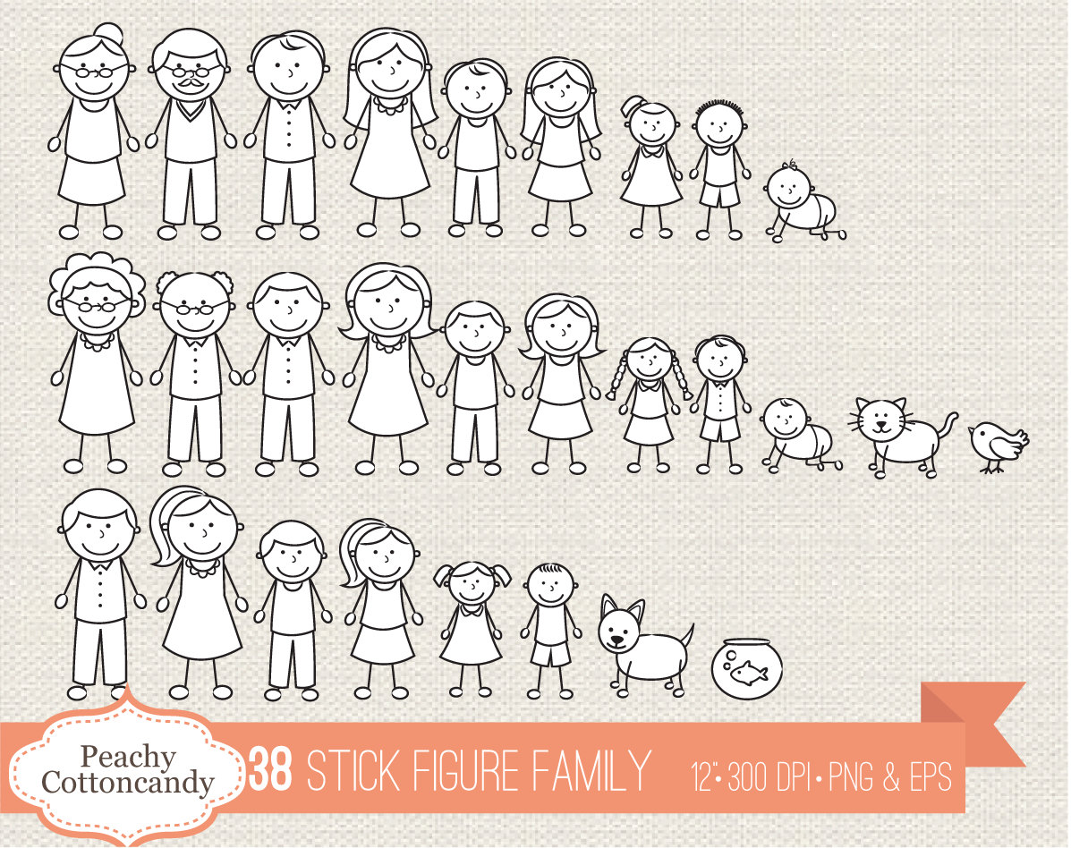 BUY 2 GET 1 FREE 38 Stick Figure Family clipart.